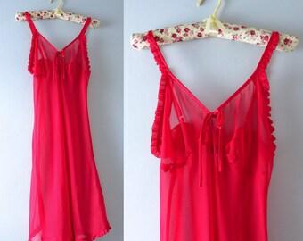 Vintage Red Slip Dress   1980s Red Semi Sheer Ruffled Slip Dress Nightie M