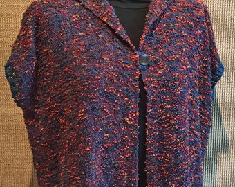 Handwoven Jacket, Short Sleeves, Knitted Trim