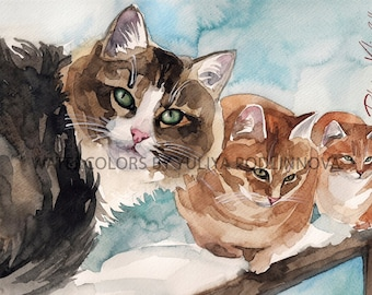 Red Orange Tabby White Cats Instant Download Print of my Original Watercolor Painting Printable Image Digital Picture Artwork