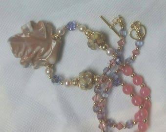 Pendant Necklace With Ceramic Leaf