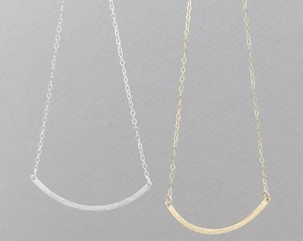 Dainty Long Curved Hammered Bar Necklace, wedding gift in Silver, Gold Fill, Rose Gold Fill / 20G HCN