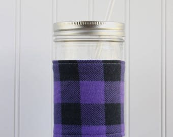 Purple & Black Buffalo Check Flannel Mason Jar Sleeve - for PINT AND A HALF Mason Jar (24 oz)