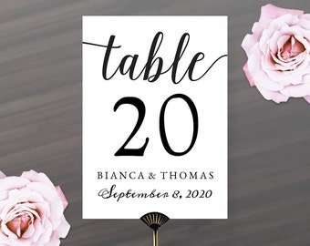 Printable DIY Table Number Cards 5x7 | Calligraphy Table Numbers with Name and Wedding Date | Instant Download