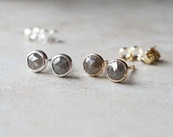 Rustic Large 5 mm Rose cut Grey Diamond Stud Earrings - Bezel Set Earrings -14k Solid  Gold -Screw Post - April Birthstone Earrings