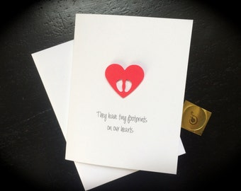 Miscarriage Sympathy Card, Miscarriage Card, They Leave Footprints on our hearts, made on recycled paper, comes with envelope and seal