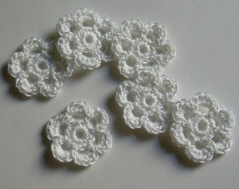 Mini Six Crocheted Flowers - White Flowers - Cotton Flowers - Set of 6 - Crocheted Flower Appliques - Crocheted Flower Embellishments