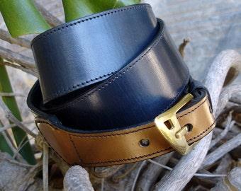 LEATHER HANDMADE BELT / Belt / Leather Belt / Belt Handmade / Belt Accessories / Belt Men / Belt Women / Belt Nature and Navy Blue.