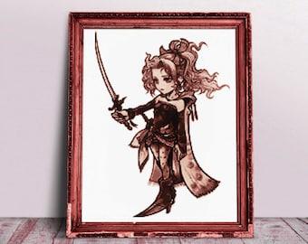 Final Fantasy Cross Stitch Pattern, Terra, Opera Omnia, Dissidia, Final Fantasy 6, Gaming, Embroidery, Realistic, PDF, Square Enix