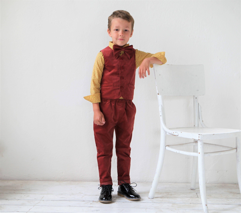 Boys suit Velvet suit Toddler boy vest and pants set Ring