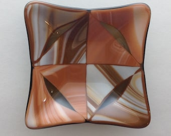 "Fused Glass 5"" Square Dish - Brown and Terra Cotta Swirls"