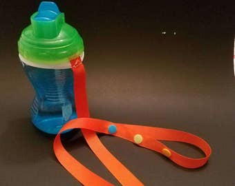Sippy Cup Buddy/Sippy Cup Holder/ Sippy Cup Strap/ Sippy Cup Leash-Solid Color (custom options available)