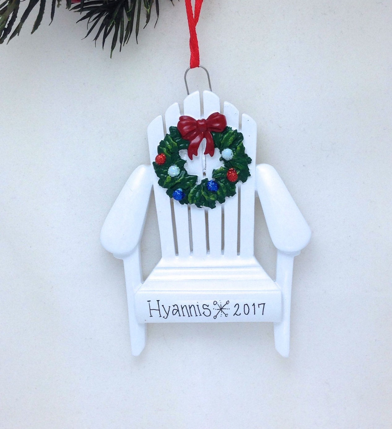 Adirondack Chair with Wreath Personalized Christmas Ornament ...