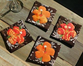 Hibiscus Coasters (orange)