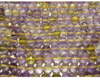 Ametrine - Ametrine Faceted Rondelles 6mm  - 5 Inch Strand 20 Pieces Approx