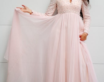 Vintage 60's Victoria Royal Ltd. Pink Chiffon Gown with Jewel and Bead encrusted bodice