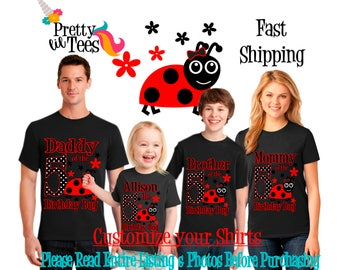 LADYBUG Birthday Girl Theme Family BLACK Shirts For the Entire Family Mom Dad Brother and More T-shirts Long/ Short sleeve Raglan LADY Bugs