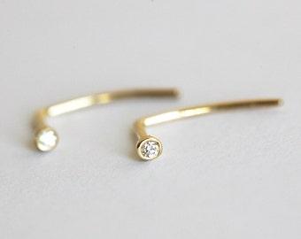 Delicate Diamond Earrings, Delicate Diamond Studs