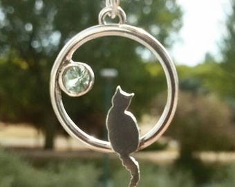 Cat necklac with blue gemnstone, cat jewelry, cats lovers