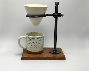 Adjustable Pour Over Coffee Maker - Sapele/Ceramic Dripper: gift for him, gift for her, wood, home decor, industrial, housewarming