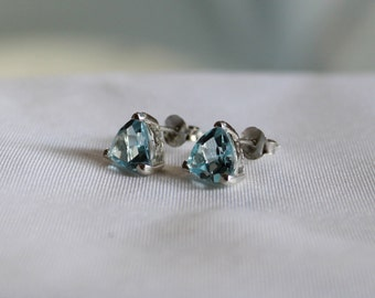 Trillion Shape Sky Blue Topaz Earrings Stud Sterling Silver 92.5, Sky Blue Topaz Earrings Stud