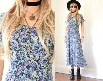 90s Floral Dress 90s Grunge Dress Floral Maxi Dress Long Floral Dress 90s Dress Floral Dress Vintage 90s Clothing Vintage Floral Dress XS S