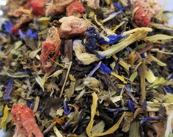 Unicorns & Rainbows - Unique Herbal Tea Blend, Blue Tea, Butterfly Pea Flower, Organic, Green Tea, Meadowsweet, St Johns Wort, Periwinkle