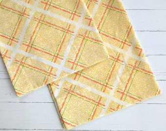 Vintage Pillowcase Set / Yellow Orange Stripe / Vintage Linens / Vintage Bedding