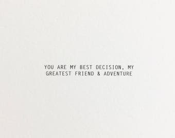 Best Decision love card, birthday card for boyfriend, first anniversary card for boyfriend, birthday card for girlfriend, card for husband