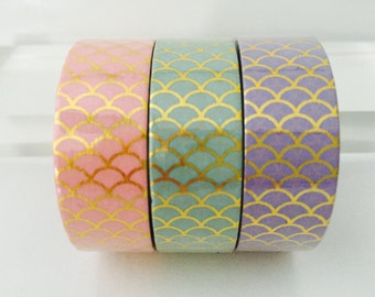Gold Foil Mermaid Scales Washi Tape in 3 Colors