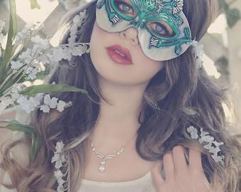 Lady of April Diamond and Daisy Leather Mask - Limited Edition of 10 Birthstone Birth Flower Art Nouveau Mardi Gras Masquerade Wedding