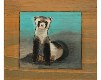 Black Footed Ferret Art Print, Wild Ferret Wall Art, Ferret Art, thepaintedgrove