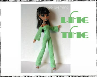 Monster High Doll Clothes - LIME TIME Funky Jumpsuit and Jewelry Set - Handmade Fashion by dolls4emma