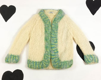 60's fluffy cream mint wool mohair knit cardigan sweater 1960's chunky warm fuzzy sea foam sweater jacket Marshall Field's / made in Italy M