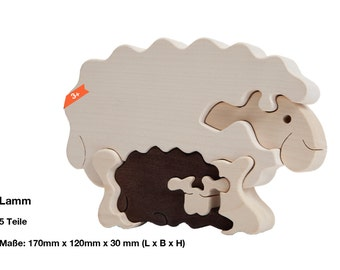 Wooden puzzle sheep with lamb