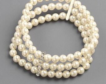 3 Strand Pearl Bracelet, Wedding Bracelet, Pearl Bracelet, Silver Bracelet, Bridal Bracelet, Rhinestone Bracelet,Bridal Accessories ~JB-4810