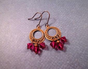Chandelier Earrings, Fuschia Crystal Drops, Copper Dangle Hoop Earrings, FREE Shipping U.S.
