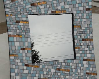 Mirror mosaic blue and white curved glass