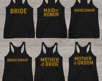 Bridesmaid Tank Set, Bachelorette Party Tanks, Bridal Party Tanks, Maid of Honor Tank Top, Mother of the Bride, Black Tank Tops, Set of 6