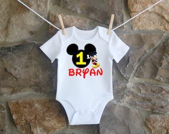 Boys Mickey Mouse Birthday Shirt, Mickey Mouse First Birthday Shirt, Custom Boys Mickey Mouse Birthday Shirt, Personalized Mickey Shirt