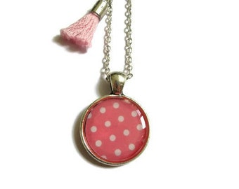 PINK AND WHITE Polka Dot Necklace - Tassel Necklace - Girls Necklace - Kids Jewelry - Girl Jewelry - Gift for kids