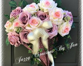 Umbrella Door Hanger Umbrella Wreath Roses Umbrella Door Hanger Wedding Gift Bridal Gift