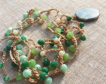 Green crochet long necklace