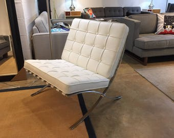 Replica of the Barcelona Leather Lounge Chair in White Color