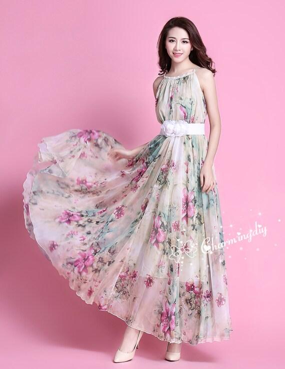 90 Colors Chiffon Flower Long Party Dress Evening Wedding