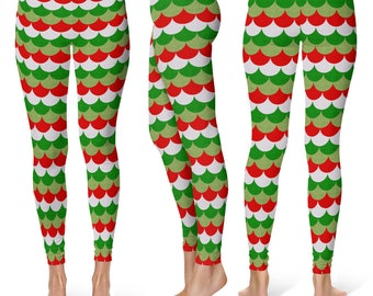 Christmas Mermaid Leggings, Holiday Yoga Pants, Red and Green Dragon Scales, Mermaid Scales, Fish Scales