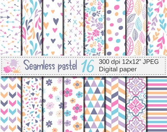Seamless Pastel Digital Paper Pack, Pastel Flowers and Leaves paper, Pastel floral patterns, Pastel Geometric Scrapbooking Papers