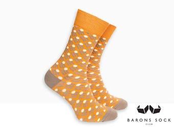 Men Cotton Socks | Men Socks | Dress Socks | Socks for Men | Groomsmen Socks | Groom Socks | Wedding Socks | Orange Dot Pattern Socks