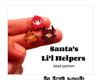 Reindeer and Elf Beading Pattern, Brick Stitch | Santa's Li'l Helpers