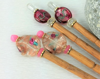 Pair of Hairsticks Handmade Pink Flower Glass - Choice of Flower Beads