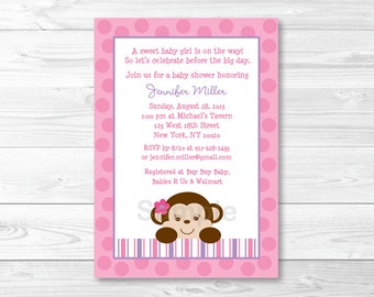 Girl Monkey Baby Shower Invitation PRINTABLE A413